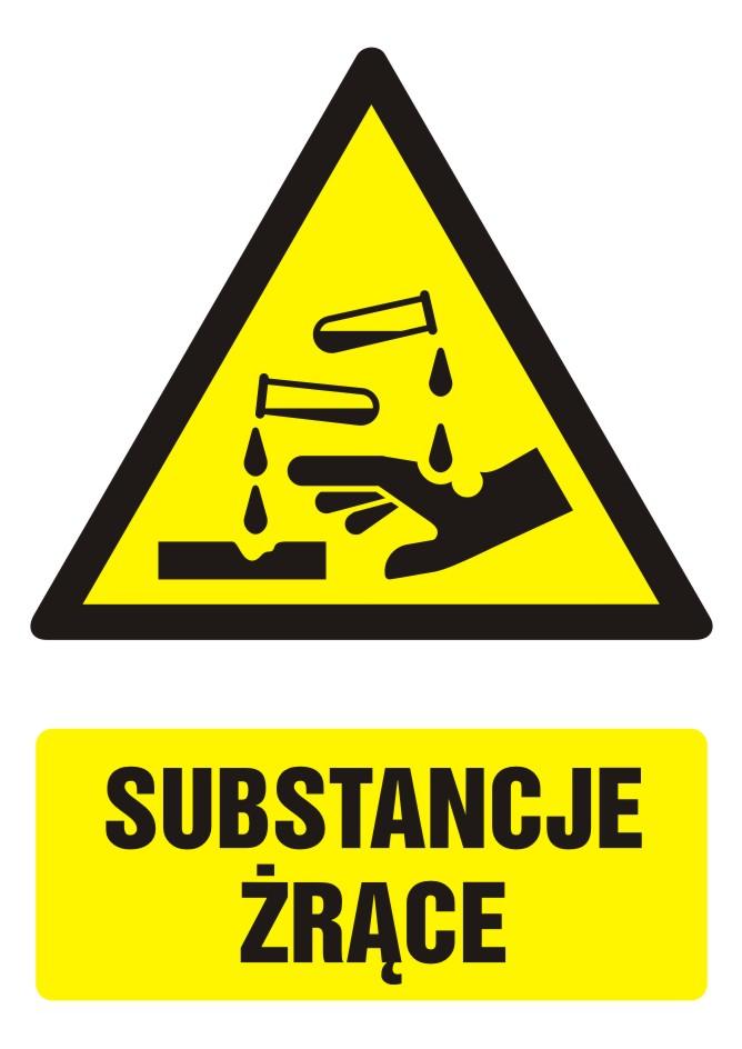 Znak Substancje żrące z opisem