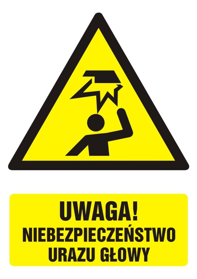Znak UWAGA! niebezpieczeństwo urazu głowy z opisem