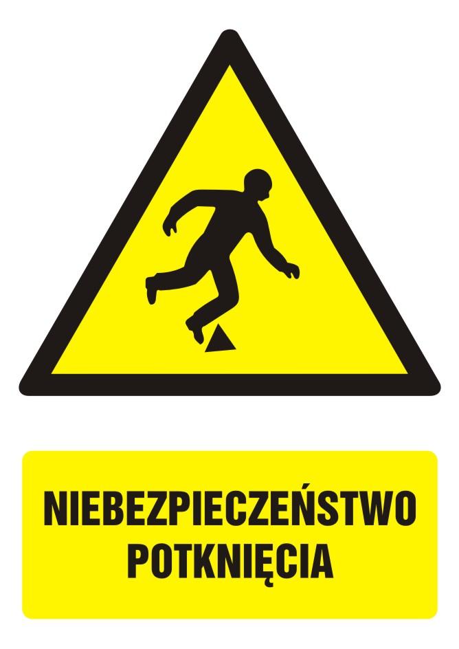Znak Niebezpieczeństwo potknięcia z opisem