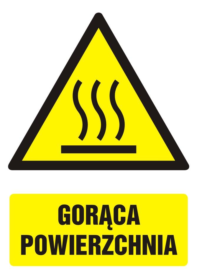 Znak Gorąca powierzchnia z opisem