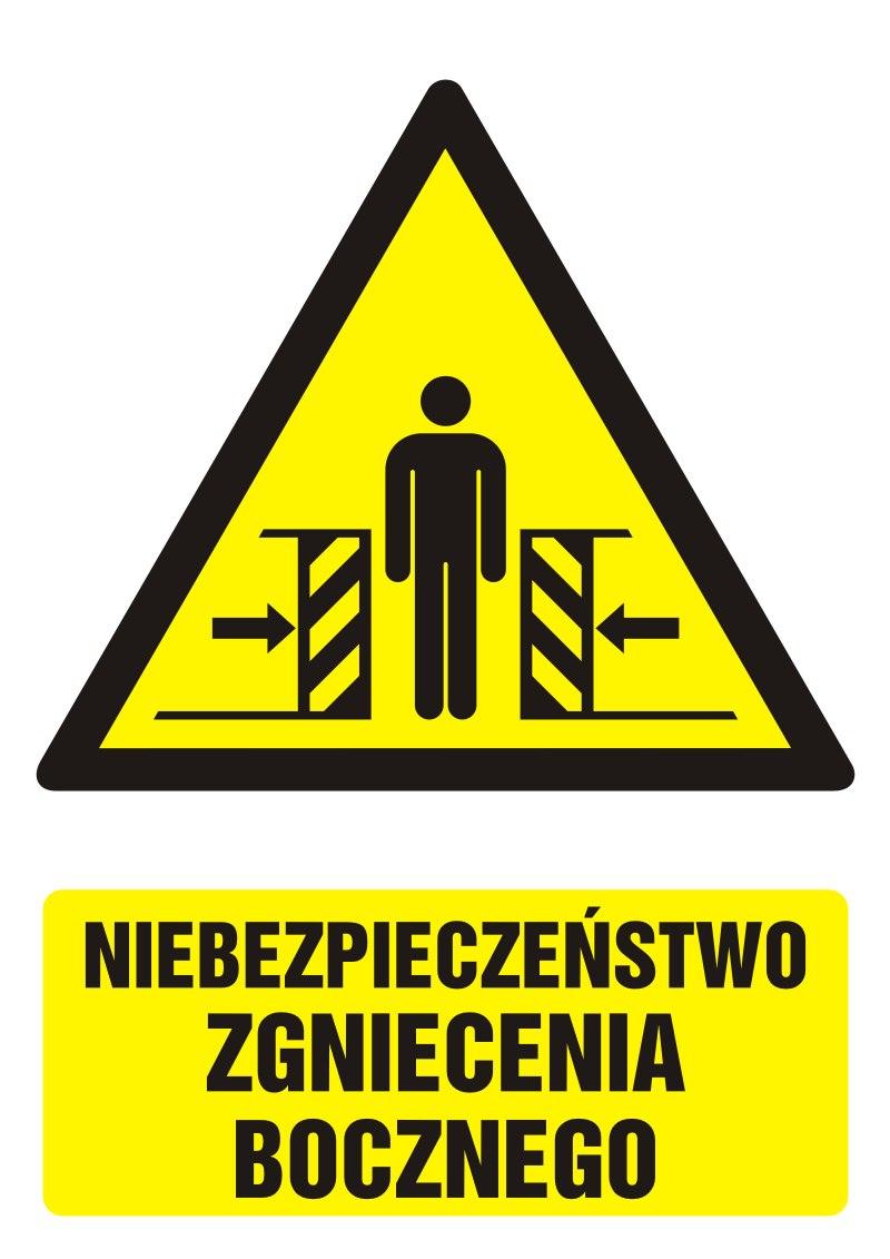 Znak Niebezpieczeństwo zgniecenia bocznego z opisem
