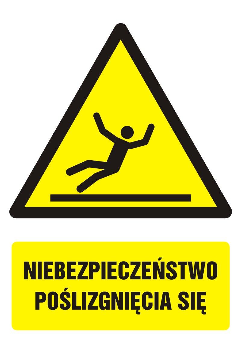 Znak Niebezpieczeństwo poślizgnięcia się z opisem