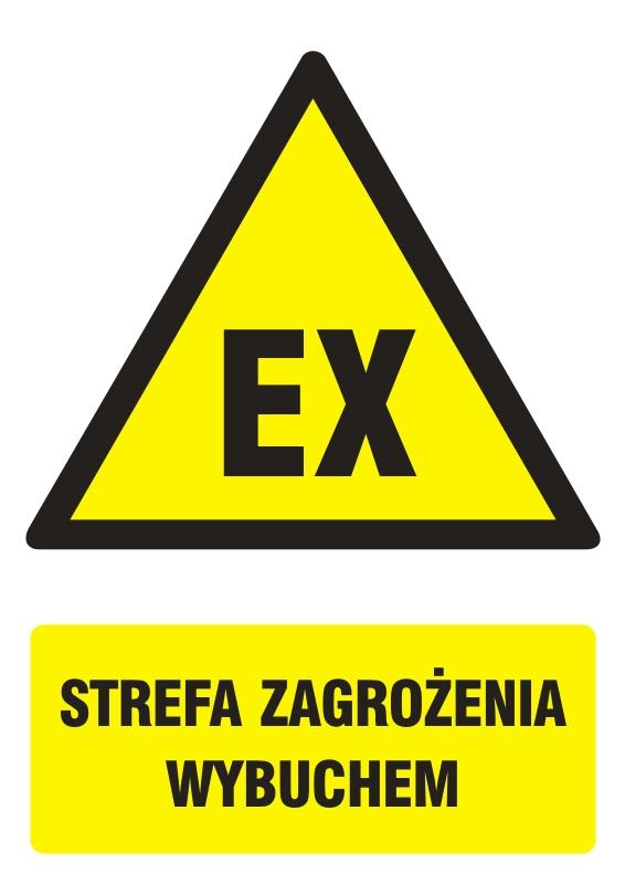 Znak Strefa zagrożenia wybuchem z opisem