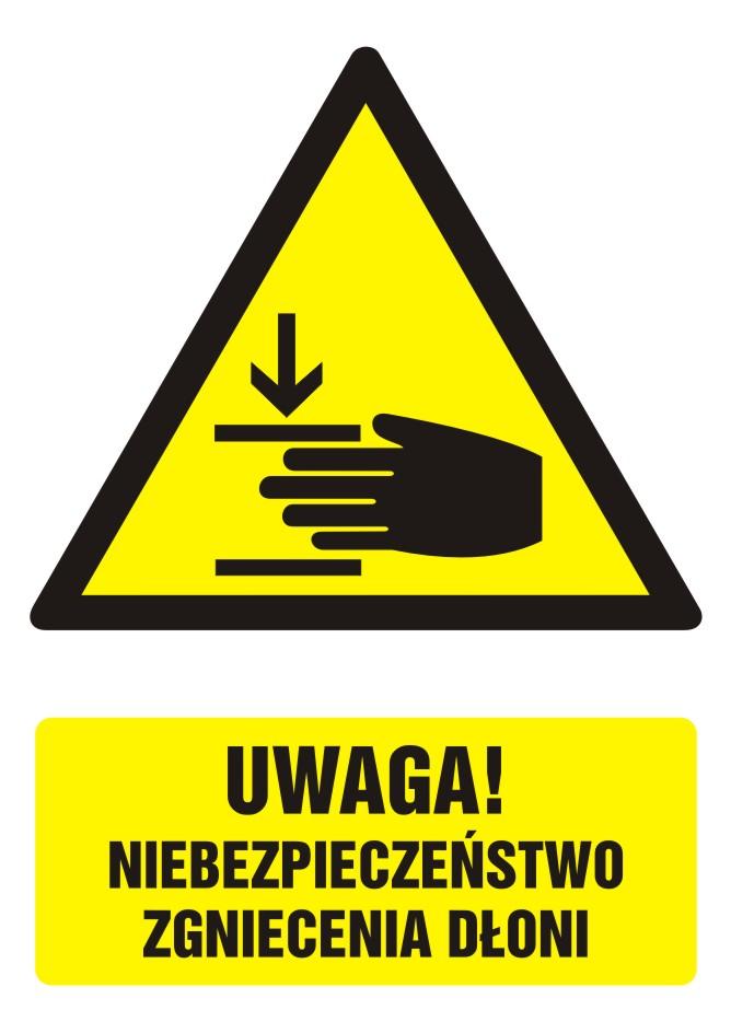 Znak UWAGA! Niebezpieczeństwo zgniecenia dłoni z opisem