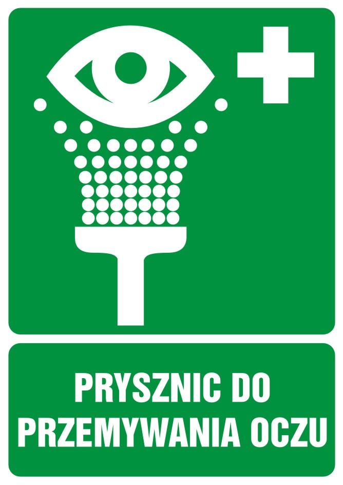 Znak informacyjny Prysznic do przemywania oczu z opisem