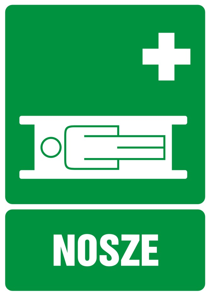Znak informacyjny Nosze z opisem