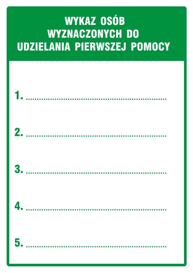 Znak informacyjny Wykaz osób wyznaczonych do udzielania pierwszej pomocy z opisem
