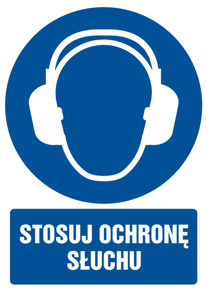 Stosuj ochronę słuchu z opisem