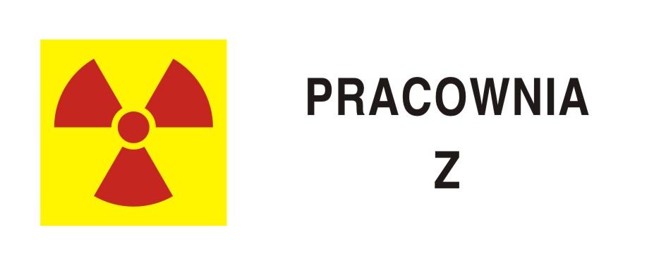 Ostrzegawczy do oznakowania pracowni z zamkniętymi źródłami promieniotwórczymi