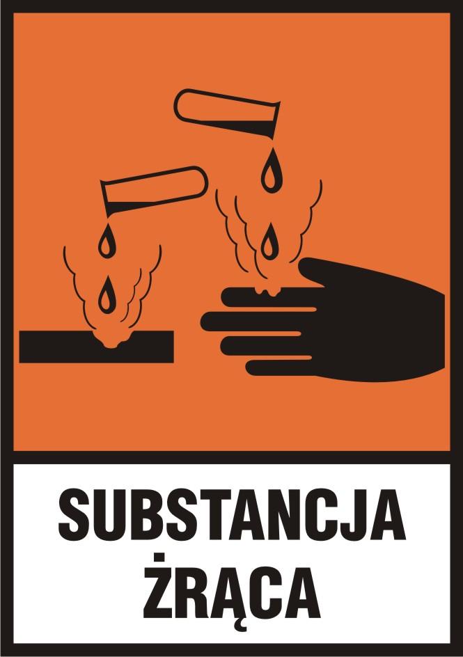 Substancja żrąca (C) z opisem