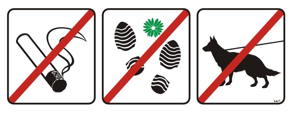 Zakaz palenia tytoniu, deptania trawnika, wprowadzania psów