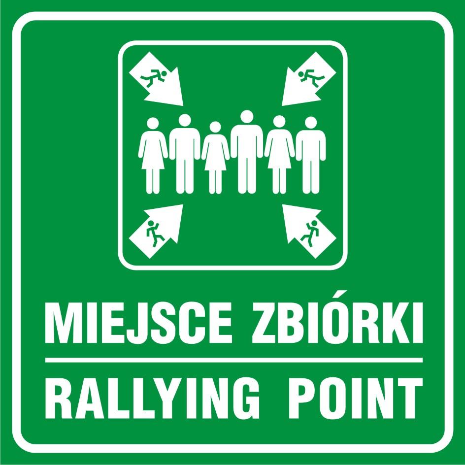 Znak ewakuacyjny Miejsce zbiórki - Rallying point