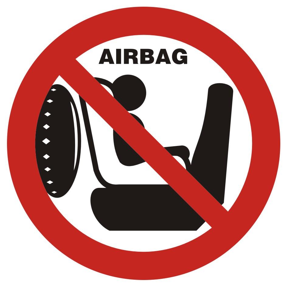Naklejka zakaz wożenia dziecka w foteliku na przednim siedzeniu. Samochód posiada poduszkę powietrzną
