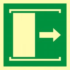 Znak ewakuacyjny Drzwi przesuwane w celu otwarcia