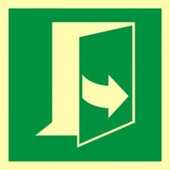Znak ewakuacyjny Ciągnąć aby otworzyć drzwi (prawe)