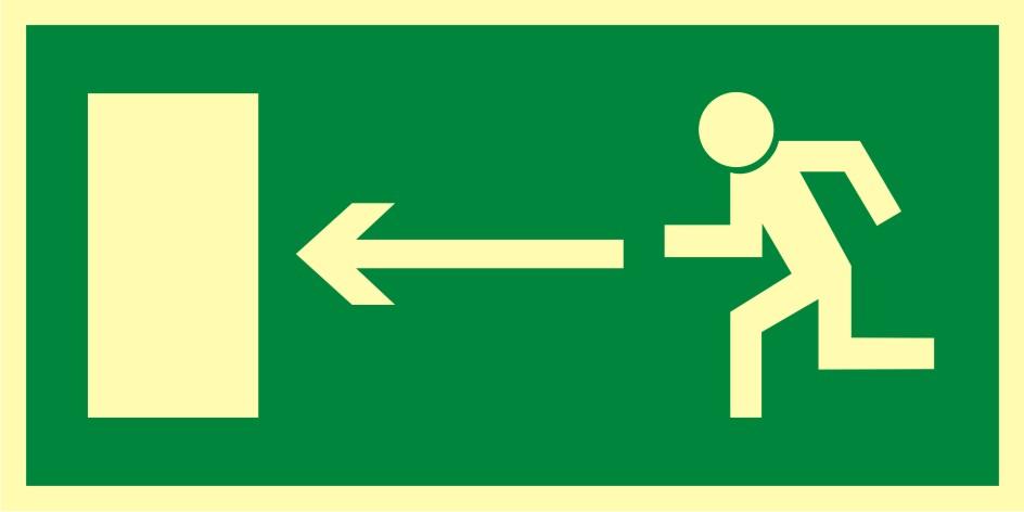 Znak ewakuacyjny Kierunek do wyjścia drogi ewakuacyjnej w lewo