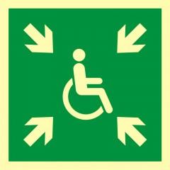 Znak ewakuacyjny Miejsce zbiórki do ewakuacji dla osób niepełnosprawnych