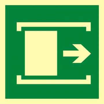 Znak ewakuacyjny Przesunąć w celu otwarcia
