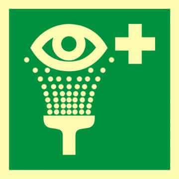 Znak ewakuacyjny Prysznic do przemywania oczu