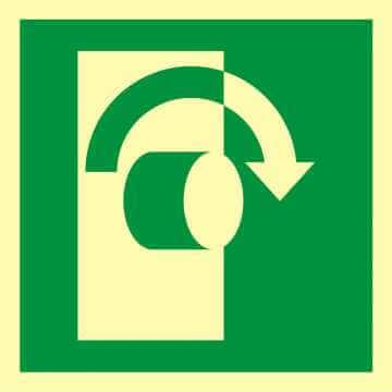 Znak ewakuacyjny Przekręcić aby otworzyć 2