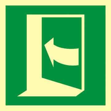 Znak ewakuacyjny Pchać aby otworzyć drzwi (lewe)
