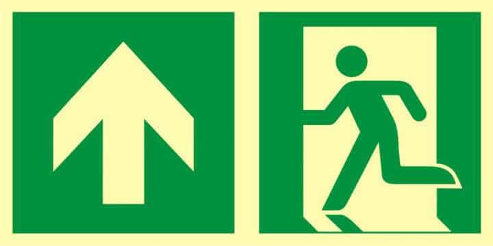 Znak ewakuacyjny Kierunek do wyjścia ewakuacyjnego - w górę (lewostronny)
