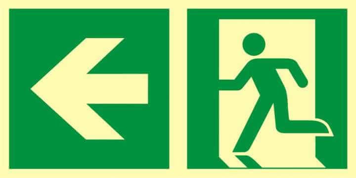 Znak ewakuacyjny Kierunek do wyjścia ewakuacyjnego - w lewo