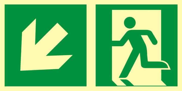 Znak ewakuacyjny Kierunek do wyjścia ewakuacyjnego - w dół w lewo