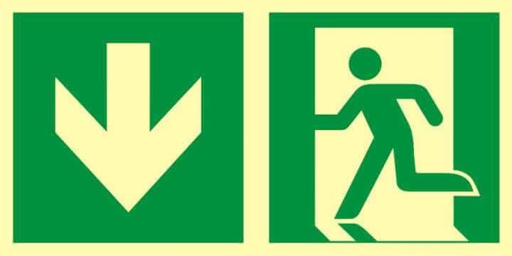 Znak ewakuacyjny Kierunek do wyjścia ewakuacyjnego - w dół (lewostronny)