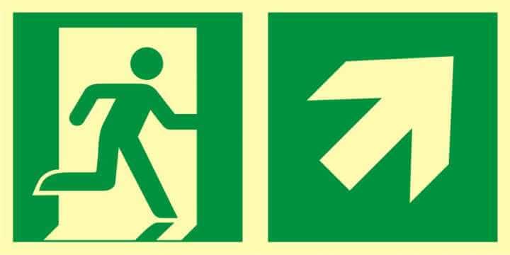 Znak ewakuacyjny Kierunek do wyjścia ewakuacyjnego - w górę w prawo