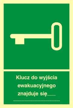 Znak ewakuacyjny Klucz do wyjścia ewakuacyjnego znajduje się .....