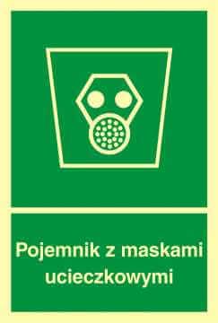 Znak ewakuacyjny Pojemnik z maskami ucieczkowymi