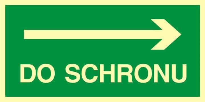 Znak ewakuacyjny Kierunek do schronu