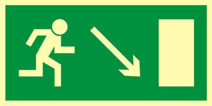 Znak ewakuacyjny Kierunek do wyjścia drogi ewakuacyjnej w dół w prawo