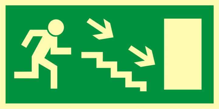 Znak ewakuacyjny Kierunek do wyjścia drogi ewakuacyjnej schodami w dół w prawo 2
