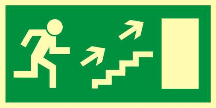 Znak ewakuacyjny Kierunek do wyjścia drogi ewakuacyjnej schodami w górę w prawo 2