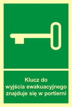 Znak ewakuacyjny Klucz do wyjścia ewak. znajduje się w portierni