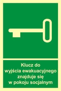 Znak ewakuacyjny Klucz do wyjścia ewak. znajduje się w pok. socjalnym