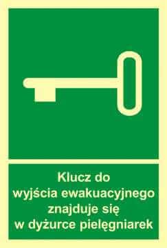 Znak ewakuacyjny Klucz do wyjścia ewak. znajduje się w dyż. pielęgniarek
