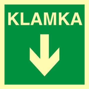 Znak ewakuacyjny Klamka