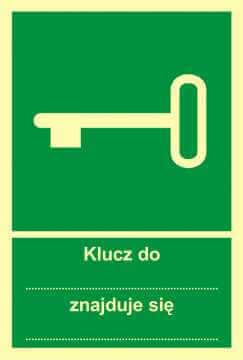 Znak ewakuacyjny Klucz do... znajduje się ...