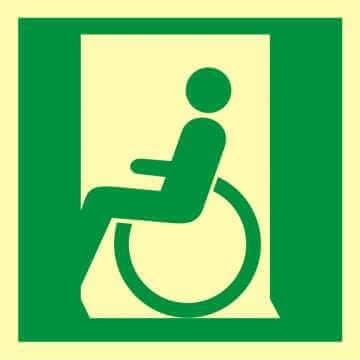 Znak ewakuacyjny Drzwi ewakuacyjne dla niepełnosprawnych w lewo