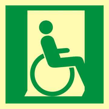 Znak ewakuacyjny Drzwi ewakuacyjne dla niepełnosprawnych w prawo