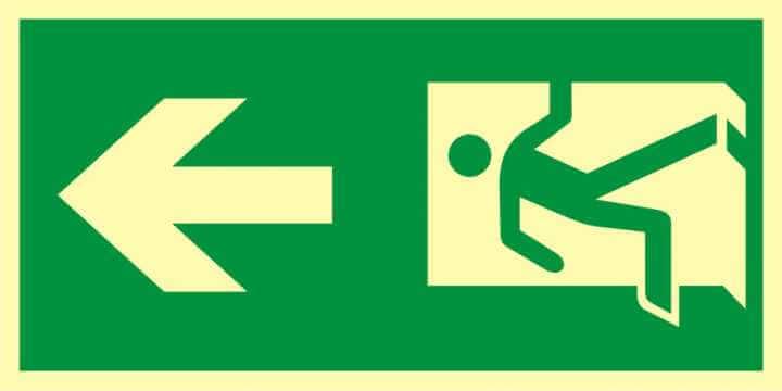 Znak ewakuacyjny Kierunek drogi ewakuacyjnej 6