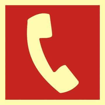 Znak przeciwpożarowy Telefon do użycia w stanie zagrożenia