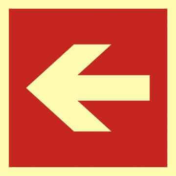 Znak przeciwpożarowy Kierunek do miejsca rozmieszczenia sprzętu pożarniczego lub urządzenia ostrzegającego