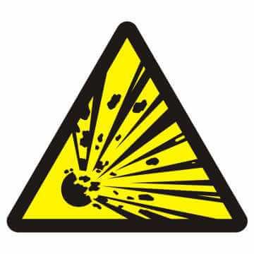Znak przeciwpożarowy Niebezpieczeństwo wybuchu - materiały wybuchowe