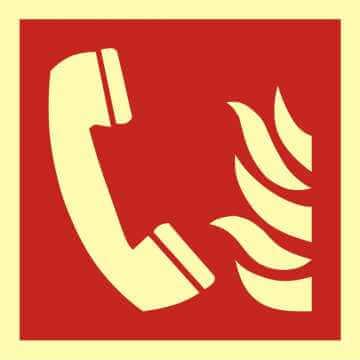Znak przeciwpożarowy Telefon alarmowania pożarowego