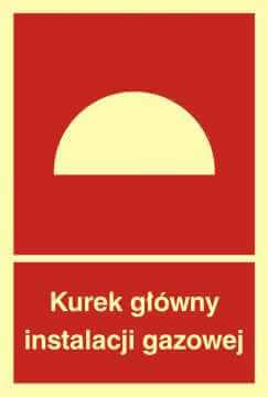 Znak przeciwpożarowy Kurek główny instalacji gazowej