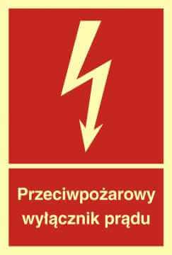 Znak przeciwpożarowy Przeciwpożarowy wyłącznik prądu